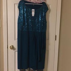 Deep teal sleeveless cocktail dress